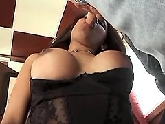 Hot ebony shemale throats huge cock