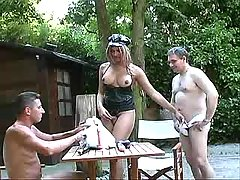 Depraved shemale serves men outdoor