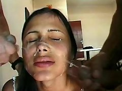 Shemale gets double facial cumshot