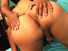 Latina shemale Cyara Stone sucks cock while getting ass teased