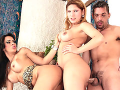 Two tranny cuties get it on with one lucky guy in this 3way